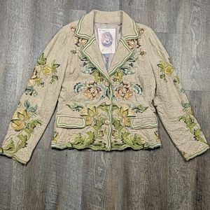 Biya Floral Embroidered Blazer Wool Blend Johnny